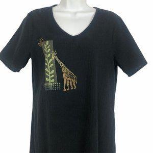 Vtg Blue Cactus Hand Stamped Giraffe Maxi Dress